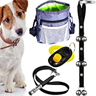 AMZpets Dog Training Set - Dogs Clicker, Treat Pouch Bag, Housetraining Door Bells, Ultrasonic Whistle. Puppy Supplies Starter Kit for Teaching Commands, Bark Control and Potty Training