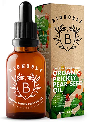 BIONOBLE ORGANIC PRICKLY PEAR SEED OIL 100% Pure, Natural & Cold Pressed | Glass Pipette & Recyclable Glass Bottle | Face, Eye Contour Oil | Prickly Pear Oil, Cactus Oil, Barbary Fig Oil (15ml)