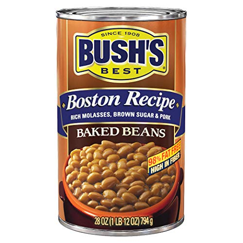 BUSH'S BEST Canned Boston Recipe Baked Beans, Source of Plant Based Protein and Fiber, Low Fat, Gluten Free, 28 oz