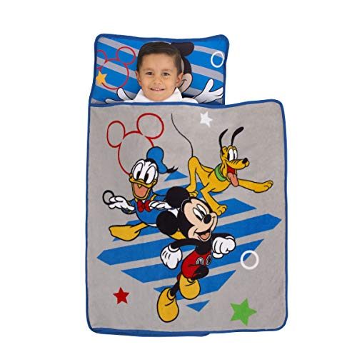 Disney Mickey Mouse Clubhouse Buddies Padded Toddler Nap Mat with Built in Pillow, Fleece Blanket, & Name Label for Daycare, Kindergarten or Travel, Grey, Blue, Yellow, Red