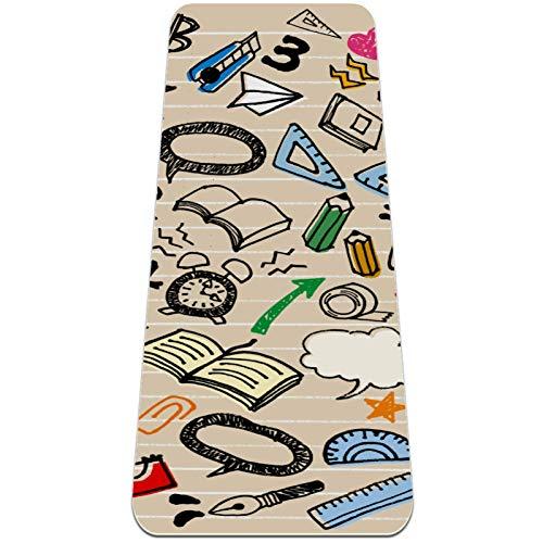 Esterilla Yoga Mat Antideslizante Profesional - Math Ruler Compass Scissor Libro de papelería - Colchoneta Gruesa para Deportes - Gimnasia Pilates Fitness - Ecológica