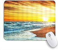 NIESIKKLAマウスパッド 熱帯の海ビーチ海水の波ゴールデンスカイファンタジー日没の風景 ゲーミング オフィス最適 高級感 おしゃれ 防水 耐久性が良い 滑り止めゴム底 ゲーミングなど適用 用ノートブックコンピュータマウスマット