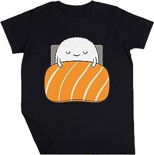 Soñoliento Sushi Cama Niño Niña Unisexo Negro Camiseta Manga Corta Kids Black T-Shirt