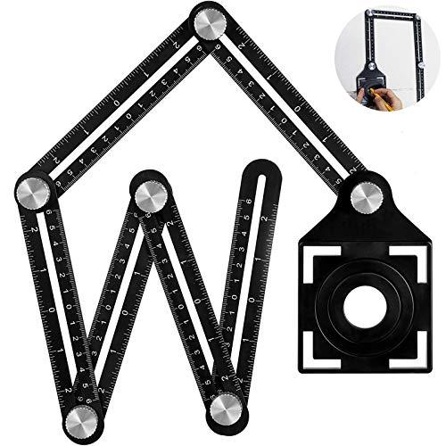 BEYAOBN Angleizer Template Tool,6 sides Alulegierung Winkelschablone Multi Winkellineal,Konturenlehre Schablone Werkzeug für Handymen, Bauherren, Handwerker