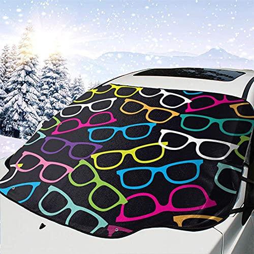 Tcerlcir Parabrisas de Coche Cubierta de Nieve Gafas de Sol Patrón de Color Cubierta de Parabrisas Cubierta de Nieve Delantera Parasol Protector de Parasol Plegable, 147x118cm