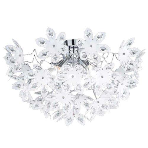 Reality|Trio Deckenleuchte Deckenlampe, Chrom, Acrylblüten weiß, Steine klar