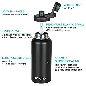 Opard Stainless Steel Water Bottle, 32 oz Vacuum Insulated Double Walled Leak Proof Sports Metal Water Bottle with Straw and Cleaning Brush for Gym Travel Camping (Black)