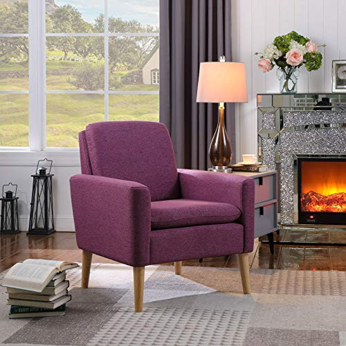 Lohoms Modern Accent Fabric Chair Single Sofa Comfy Upholstered Armchair Living Room Chair Furniture Purple