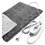 Pure Enrichment® PureRelief™ XL (12' x 24') Electric Heating Pad for Back Pain and Cramps - 6 InstaHeat™ Settings, Machine-Washable, Soft Microplush, 2-Hour Auto Shut-Off, & Storage Bag (Gray)