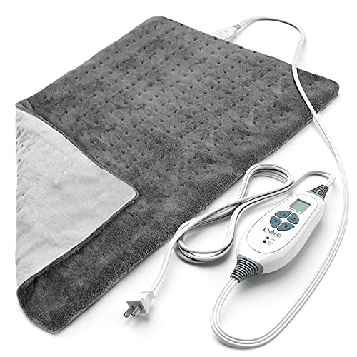 """Pure Enrichment® PureRelief™ XL (12"""" x 24"""") Electric Heating Pad for Back Pain and Cramps - 6 InstaHeat™ Settings, Machine-Washable, Soft Microplush, 2-Hour Auto Shut-Off, & Storage Bag (Gray)"""