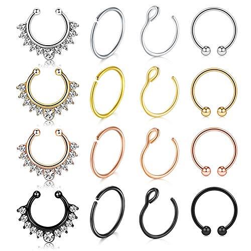Incaton Faux anneaux de nez cerceau 16pcs en acier inoxydable faux faux oreille lèvre nez anneau septum clip non percé sur anneaux de nez