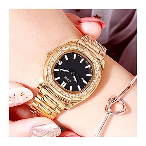 Reloj para Mujer Reloj Analógico Cuarzo Relojes De Pulsera Redondo Cinturón De Acero Minimalista Moda Femenina Regalo(Color:Negro Dorado)