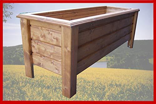SchwibboLa Pflanzkasten Hochwertiger Classic lasiert Teak Außenmaße 140 x 30 x 26 cm Blumenkasten Hochbeet Pflanztrog Nr. PK-69-A2, Holz