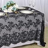 ShinyBeauty Mantel de Encaje Mantel Negro Mantel Vintage de 60x120 Pulgadas Mantel Elegante Floral Mantel con Estampado de Encaje Negro Manteles de Fiesta Mantel Bordado para Boda