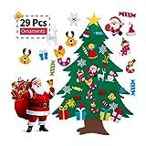 CLFYOU Árbol de fieltro-29 unids/Set árbol de Navidad de Fieltro DIY Conjunto de árbol de Navidad de Fieltro para Adornos Colgantes de Pared de Navidad Regalos para niños