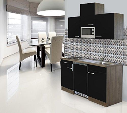 respekta inbouw single keuken keukenblok 150 cm eiken York imitatie zwart