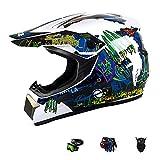 DDH Cascos de Motocross, Ciclismo Adulto Casco de Cara Completa, Terrain Cascos de Suciedad para BMX MTB ATV Scooter Niños Jóvenes Casco de Bicicleta (Gafas, Guantes, Máscara)-White Claws||S