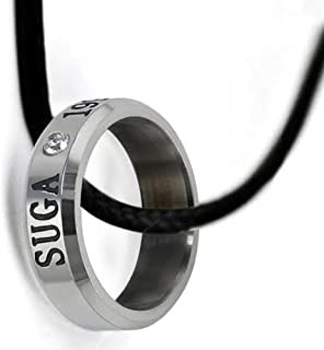 Ring for BTS Fans SUGA Titanium Necklace Ring Crystal with Free Leather Chain Kpop