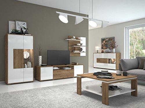 Wohnzimmer Komplett - Set B Manase, 5-teilig, Farbe: Eiche Braun/Weiß Hochglanz