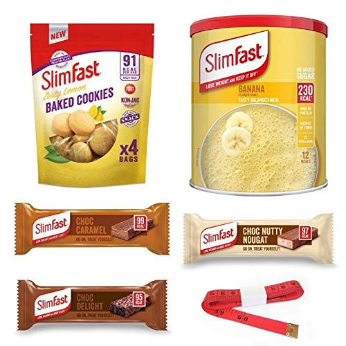 Enriched Slim Fast Shake And Snacks Weightloss Diet Bundle With Tape Measure - Zesty Lemon Baked Cookies, Banana Powder Meal Shake And Three Chocolate Treat Snack Bars In Caramel, Nougat And Delight