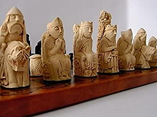Medieval/ Isle of lewis style chessmen chess set pieces - full size complete set of chess set game pieces vintage and collectors