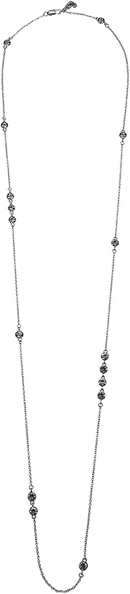 Blue by Betsey Johnson Silver and Crystal Station Necklace