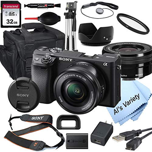 Sony Alpha a6400 Mirrorless Digital Camera with 16-50mm Lens + 32GB Card, Tripod, Case, and More (18pc Bundle)