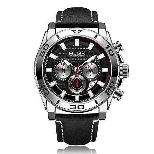 MEGIR - Reloj de pulsera para hombre, cuarzo, deportivo, correa de piel, calendario, cronógrafo, manecillas luminiscentes, masculino, multifuncional