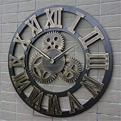 Framy Vintage Wall Clock, 3D Retro Rustic Decorative Art Big Gear Wooden Gear Large Handmade Oversized Wall Clock,32in