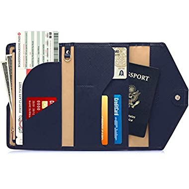 Women RFID Blocking Wallet, TEOYALL Travel Passport PU Leather Long Trifold Wallet (Blue)