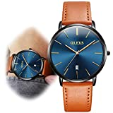Mens Watches Ultra Thin Minimalist Wrist Watch for Business Casual, Tan Brown Leather Strap Blue Dial Watches with Date Waterproof His Watch New Years