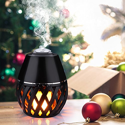 EECOO 150ml Mini Aroma Essential Oil Diffuser Ultrasonic Cool Mist Humidifier with Auto Shutoff and Flick Flame Led Lamp Function for Office HomeYoga SpaOfficeBaby Room