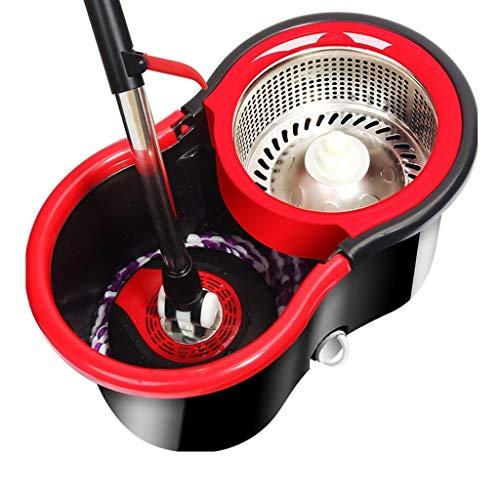 Liudan-fregonas Fregona giratoria Luxury 360 de Acero Inoxidable y Sistema de Limpieza del Piso del cucharón Respeto al Medio Ambiente Material PP Aspecto 4 Cabeza de trapeador de Microfibra