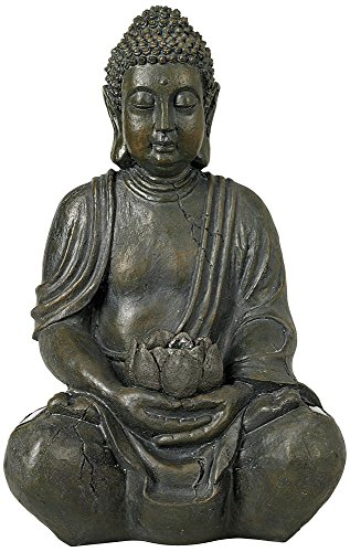 Universal Lighting and Decor Sitting Buddha Asian Zen Outdoor Statue with Light Solar Powered LED 19 1/2' High Sculpture for Yard Garden Patio Deck Home - John Timberland