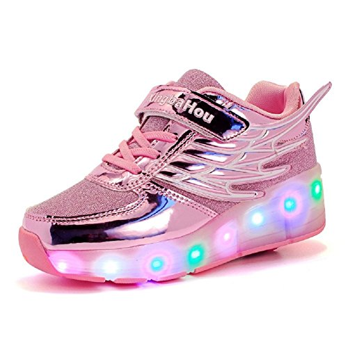 Skybird-UK Kinder Junge Mädchen 7 Farbe Farbwechsel Lichter Blinken LED Schuhe mit Rollen Skateboard Rollschuhe Sport Outdoorschuhe Gymnastikschuhe Flügel-Art Sneaker
