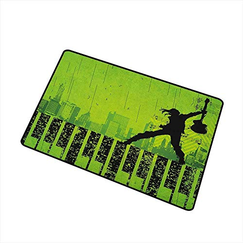 Kelace Popstar Party Commercial Grade Entrance Mat Music In The City Theme Singer with Electric Guitar On Grunge Backdrop for Entrances Garages Patios Lime Green Black 20x32(IN)