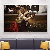 IDG HODE79 - Cuadro artístico sobre lienzo - Bastidor de madera natural - La Annunciación Leonardo da Vinci- El Arcángel Gabriele