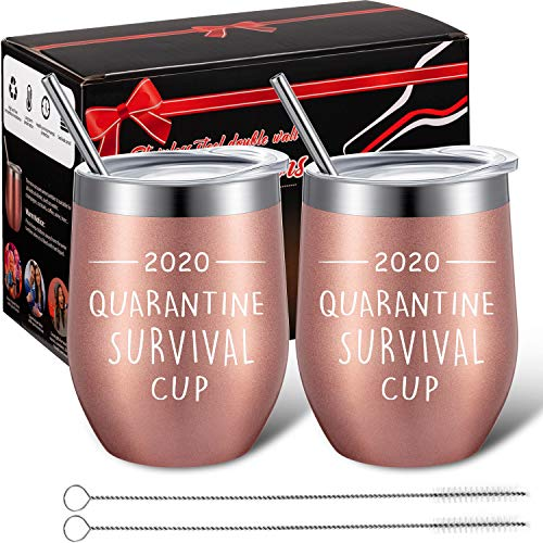 2 Pack Quarantine Survival Cup Funny Stay at Home Gifts Coffee Mug Birthday Quarantine Gifts for Women, Mom, Friends, 12 oz Vacuum Insulated Cups Double Wall Wine Tumbler with Lid (2020 Text Style)