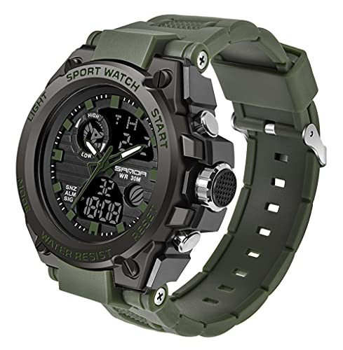 Men's Digital Outdoor Watch Tactical Military Survival Watch Sport LED Stopwatch Army Watch Waterproof Large Face Electronic Analog Watches
