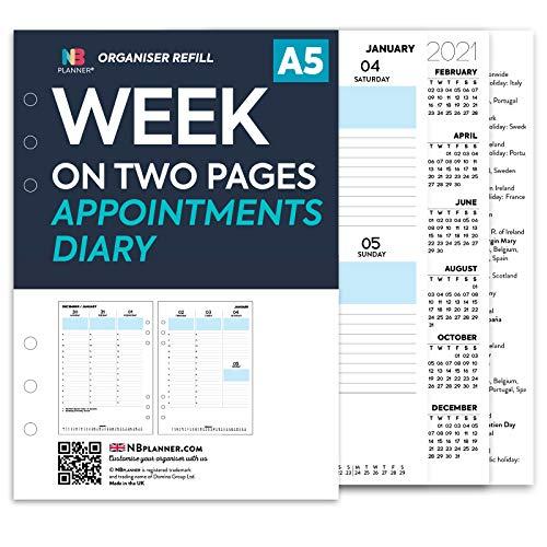 NBplanner Nachfülleinlage für Schülerkalender und Notizen Wöchentliche Termine