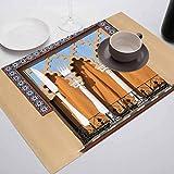 FloraGrantnan - Juego de 4 manteles individuales de cocina duraderos con ventanas antiguas en el estilo de Córdoba España con fondo de balcón con tapa urbana, antideslizantes, absorbentes