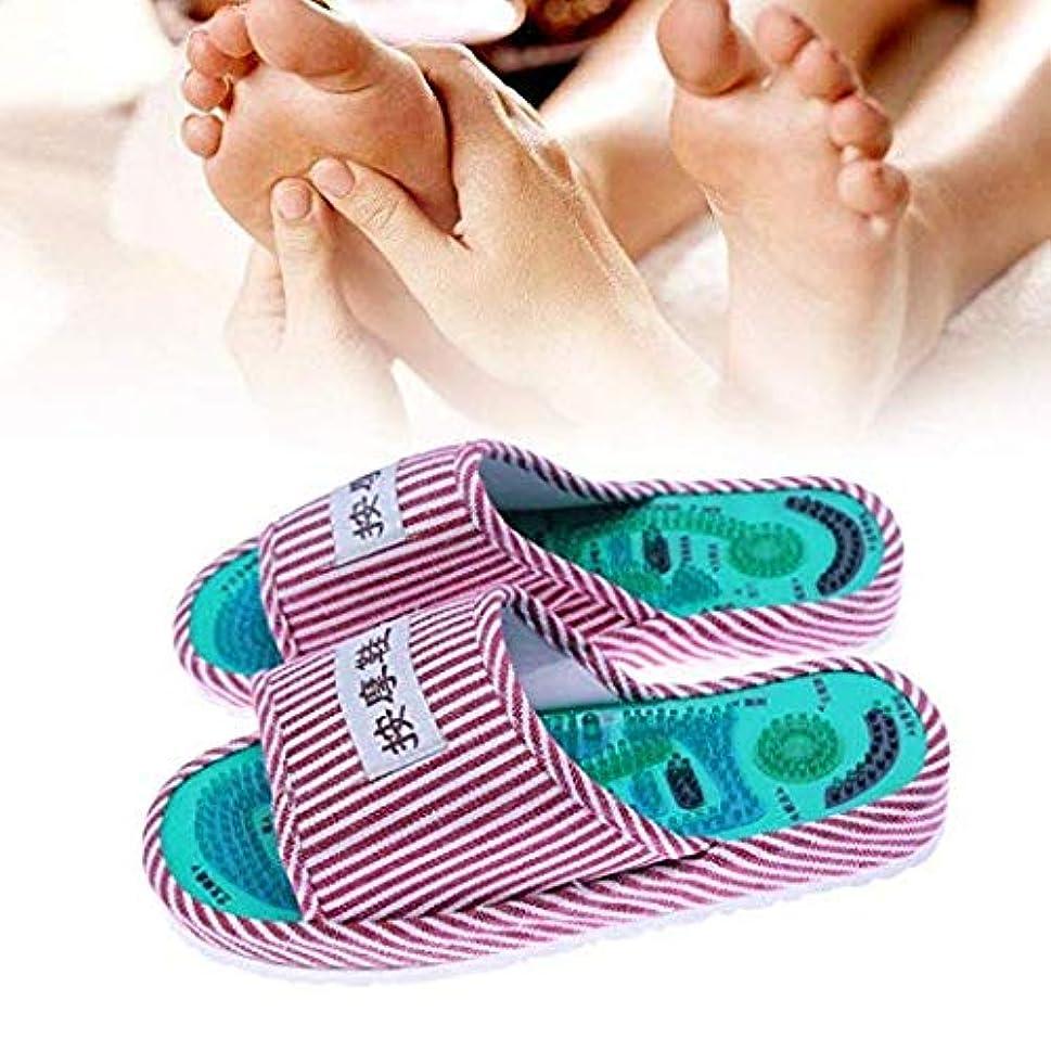 司令官味方失礼な1ペアアキュポイントマッサージスリッパ縞模様リフレクソロジーフットプロモーション血液循環リラクゼーションコットンフットケアシューズ 1 Pair Acupoint Massage Slipper Striped Pattern Reflexology Foot Promote Blood Circulation Relaxation Cotton Foot Care Shoes (赤白/red white)