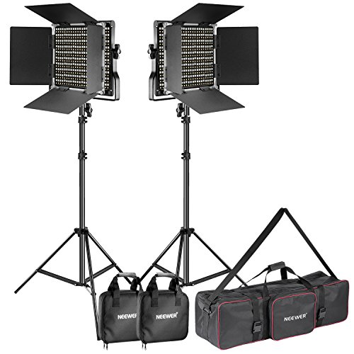 Neewer 2-Pack Dimmable Bi-Color 660 LED Video Light and Stand Lighting Kit with Large Carrying Bag for Photo Studio Video Photography, Durable Metal Frame, 660 LED Beads, 3200-5600K, CRI 96+
