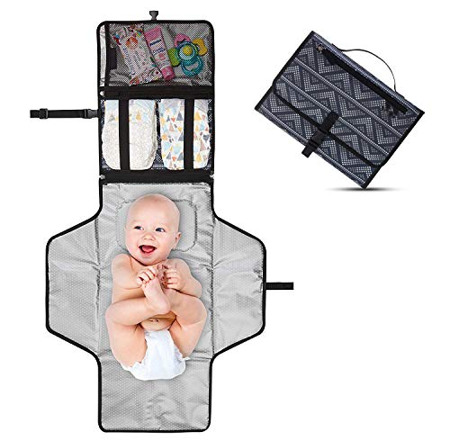 Emoly Upgraded Baby Portable Changing Pad Travel Kit,Changing Pad Portable with Detachable Foldable Mat,Waterproof Baby Travel Changing Station,Mesh and Zippered Pockets