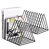 2 Pcs Magazine Holder,Desktop File Sorter Organizer Triangle Bookshelf Decor Home Office,Photography Props(Black)