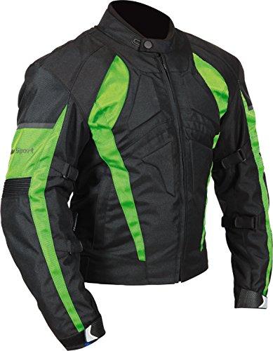 Milano Sport MJAGAM03942X Gamma Men's Motorcycle Jacket (Black/Green, XX-Large)