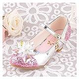 Youpin Zapatos de cristal de Cenicienta para niños, zapatos de tacón alto, zapatos de princesa de cuero brillante, zapatos de vestir para niñas pequeñas y niñas (color: rosa, tamaño del zapato: 13.5)