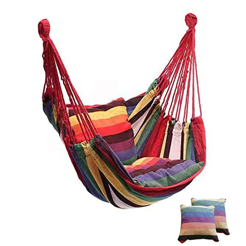 Huixindd Jardín Colgando Silla Columpio Interior Muebles de Exterior Hamaca Colgando Cuerda sillón Silla de Asiento de Camping portátil (Cor : Rainbow with Pillow, Envio de : China)