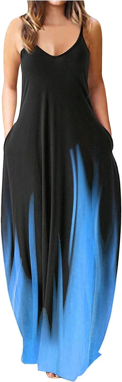 Jaqqra Summer Dress for Women V-Neck Spaghetti Strap Dress Long Maxi Dress Casual Loose Plus Size Sundress with Pockets