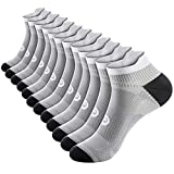 No Show Compression Socks for Men and Women (6 Pairs), Low Cut Running Ankle Socks with Arch Support for Plantar Fasciitis, Cyling, Athletic, Flight, Travel, Nurses. Gray S/M